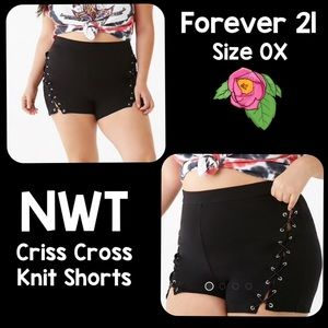 NWT Forever 21 Plus Size Criss Cross Knit Shorts